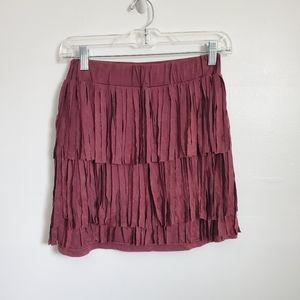 POL Fringe Burgundy Mini Skirt